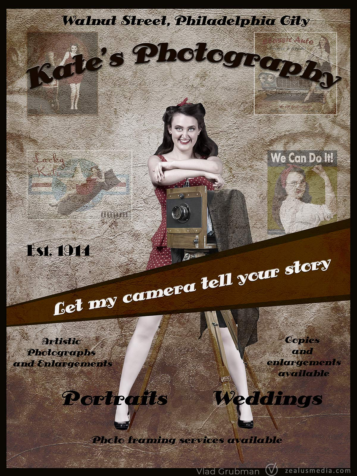 Vintage Poster – Photography Studio Promo Flyer