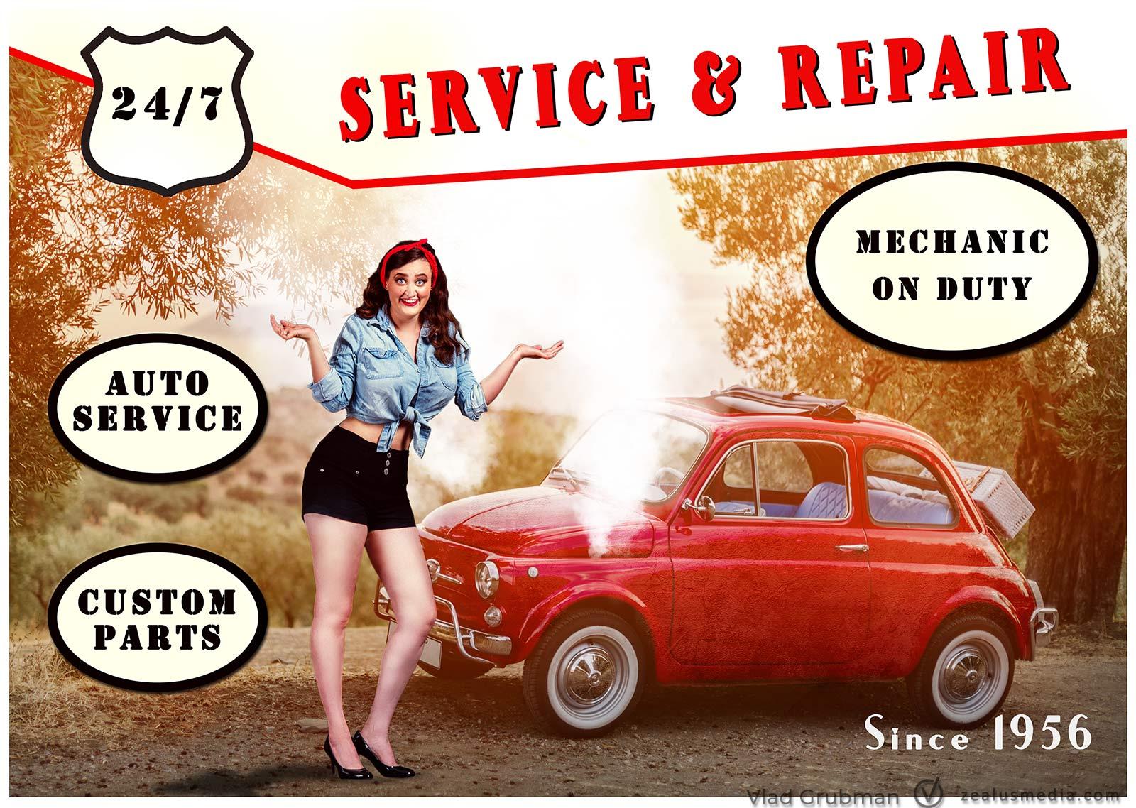 Vintage Poster – Car Repair Shop Poster